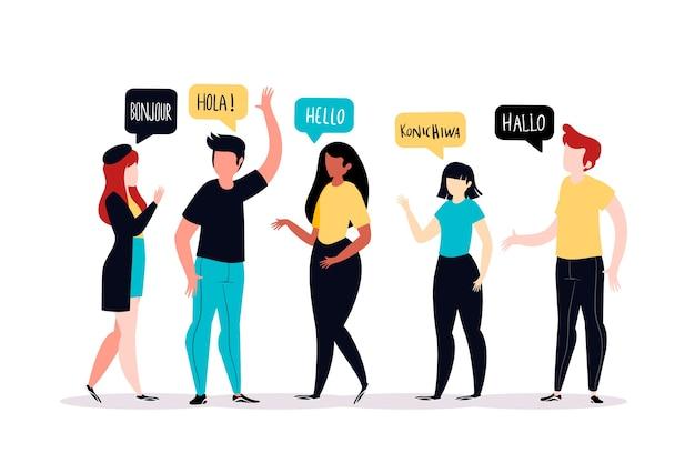 異なる言語で話している人々 無料ベクター