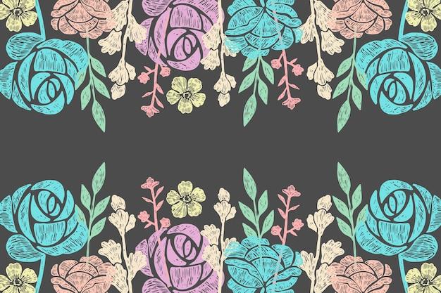 黒板背景に手描きの花 無料ベクター