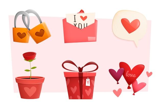 フラットなデザインのバレンタイン要素コレクション 無料ベクター
