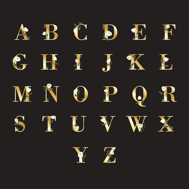 Золотой алфавит с элегантными цветами Бесплатные векторы