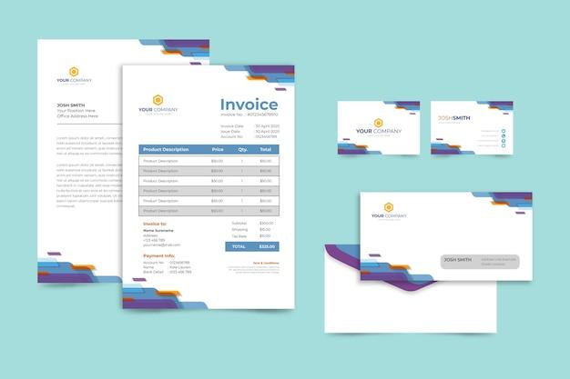 Корпоративный бумажный счет и визитка Бесплатные векторы