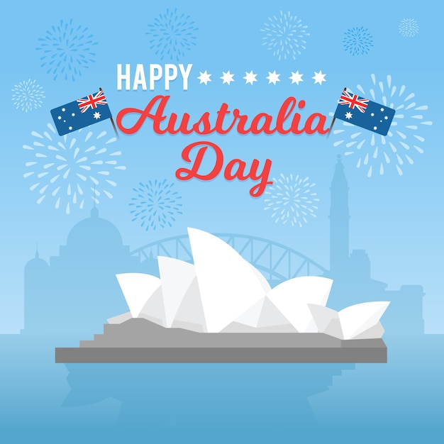 Праздничная тема для концепции дня австралии Бесплатные векторы