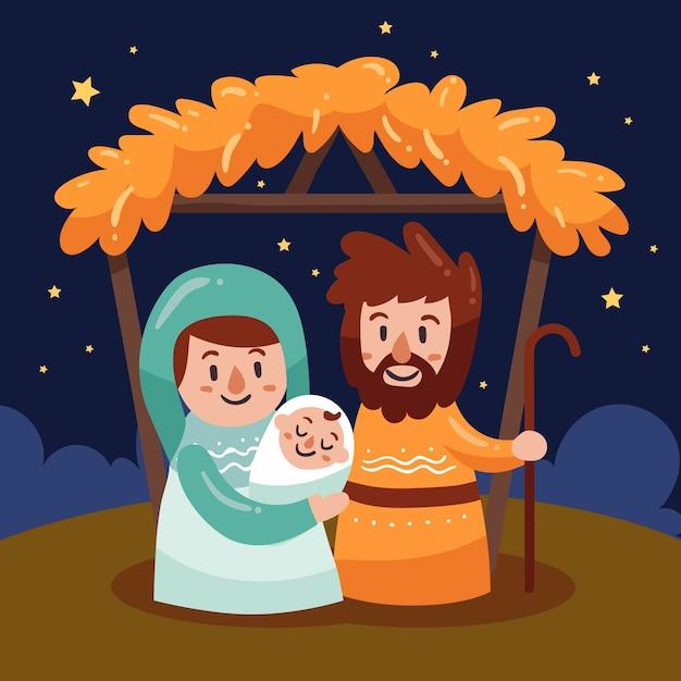 手描きのキリスト降誕のシーン 無料ベクター