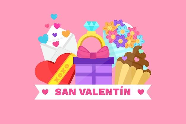 愛の要素を持つフラットバレンタインデーの背景 無料ベクター