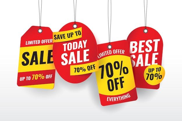 Реалистичные висячие продажи этикетки Бесплатные векторы
