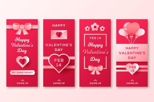 リボン付きバレンタインデーストーリーコレクション 無料ベクター