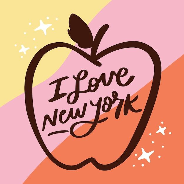 Я люблю нью-йоркскую надпись Бесплатные векторы