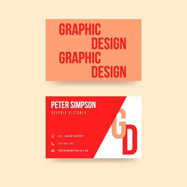 Творческий красный графический дизайнер шаблон визитной карточки Бесплатные векторы
