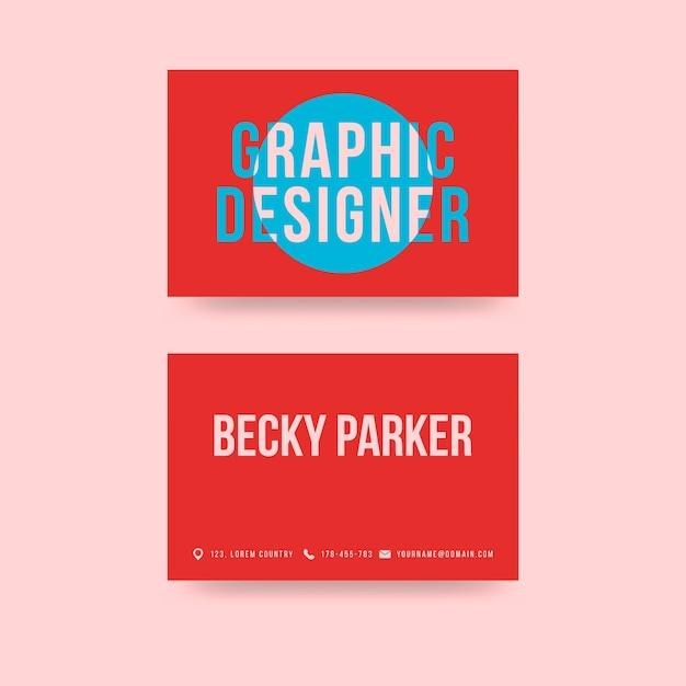 Креативный красный графический дизайнер визитная карточка Бесплатные векторы