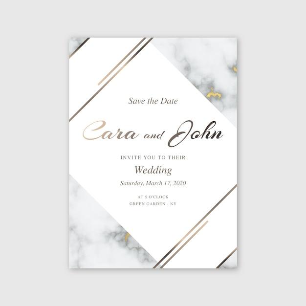 エレガントな大理石の結婚式の招待状のテンプレート 無料ベクター