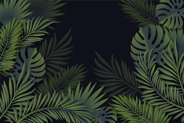 現実的な熱帯の葉の壁紙 無料ベクター