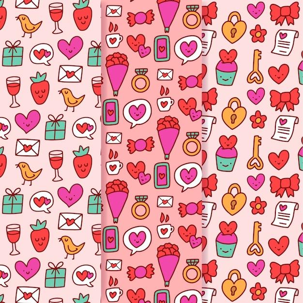 手描きのバレンタインのパターンのセット 無料ベクター