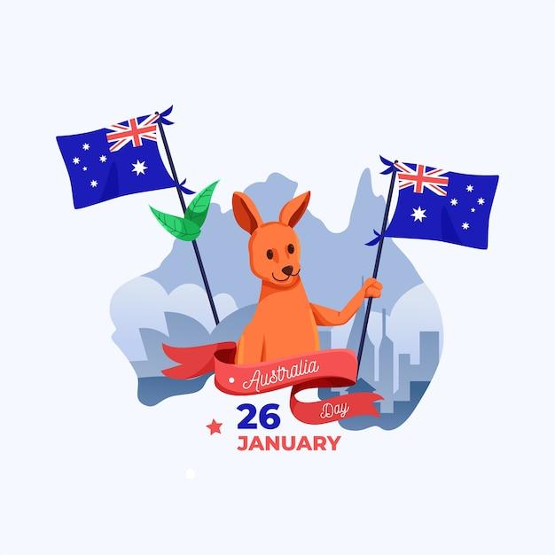 フラットなデザインのオーストラリアの日のコンセプト 無料ベクター