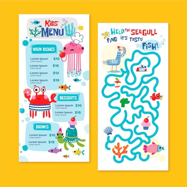 Нарисованный рукой шаблон меню детей Бесплатные векторы