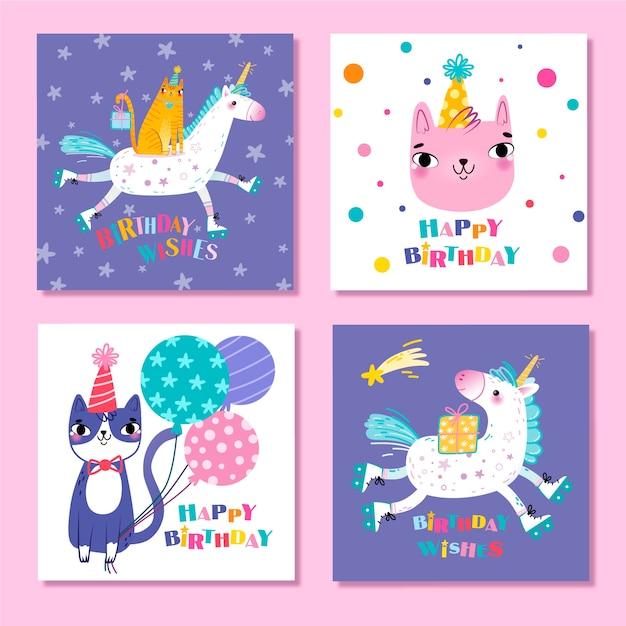 かわいい動物の誕生日カードのコレクション 無料ベクター