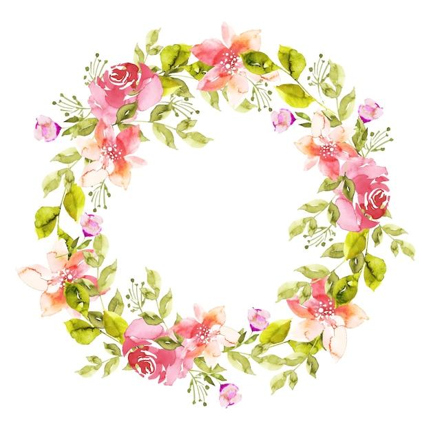 Пышный цветочный венок в стиле акварели Бесплатные векторы