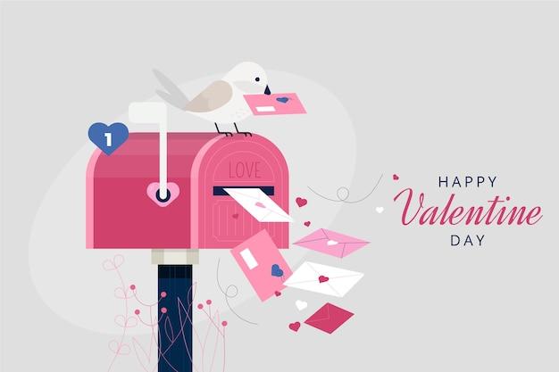 バレンタインデーの手紙の背景 無料ベクター