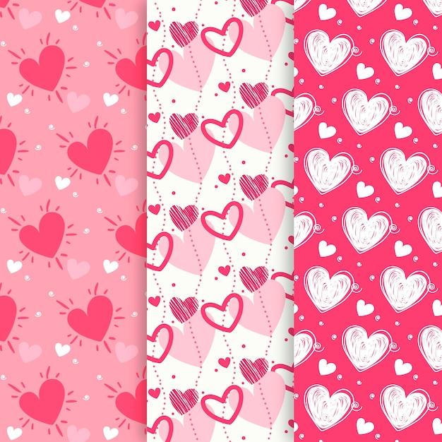 手描きのバレンタインの日パターンのコレクション 無料ベクター