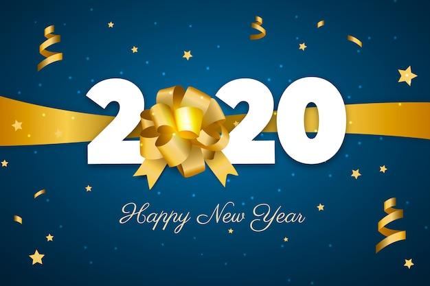 Реалистичная новогодняя открытка с золотым бантом Бесплатные векторы