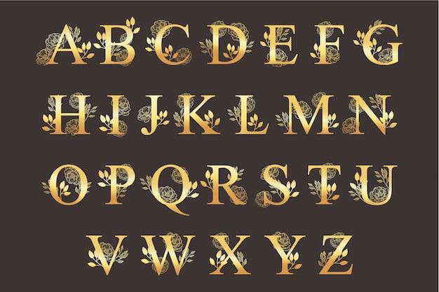 Золотой алфавит с элегантными красивыми цветами Бесплатные векторы