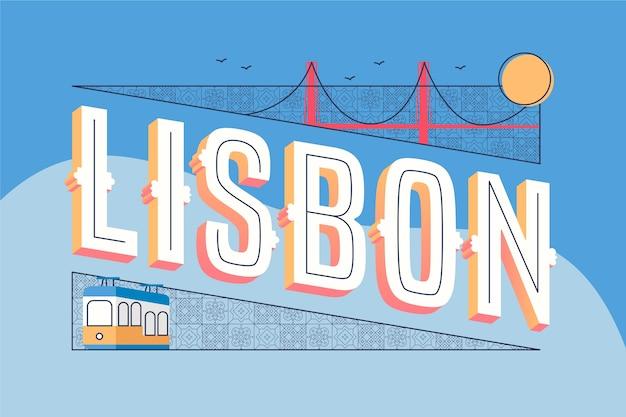 Концепция города надписи лиссабон Бесплатные векторы