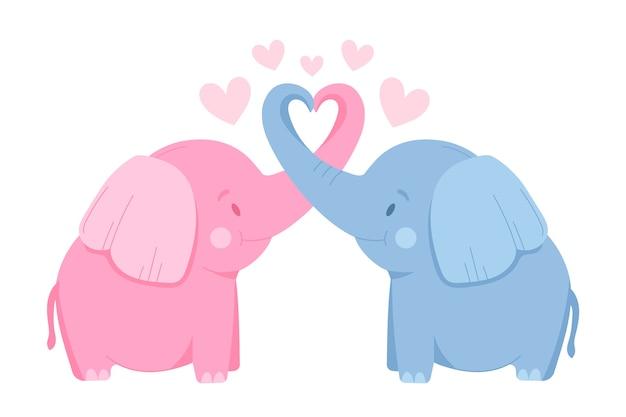 かわいいバレンタインデーの象のカップル 無料ベクター