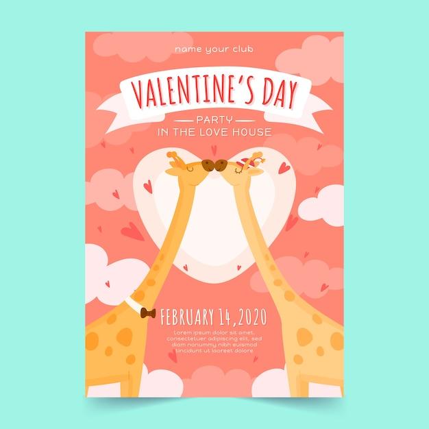 バレンタインの日パーティーポスターテンプレートを使用した描画 無料ベクター