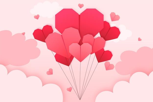 紙のスタイルでバレンタインデーの壁紙 無料ベクター