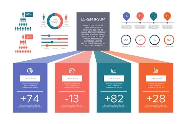 Ретро цвета плоской инфографики Бесплатные векторы