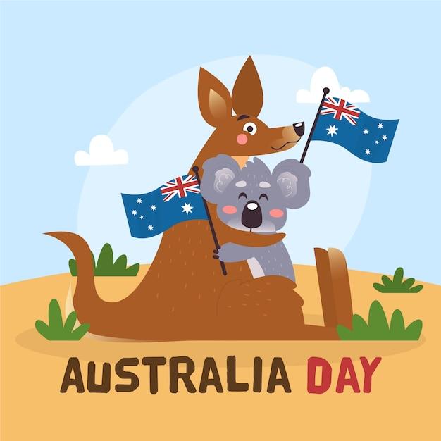 Тема дня австралии в плоской концепции дизайна Бесплатные векторы