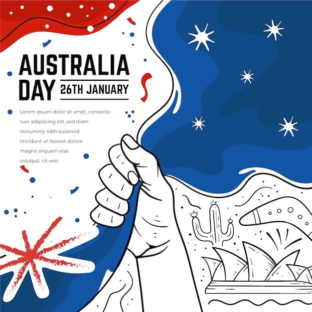 Нарисованный вручную дизайн дня австралии Бесплатные векторы