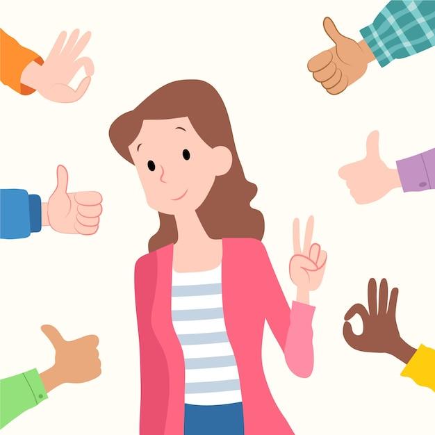 Концепция общественного одобрения с характером Бесплатные векторы