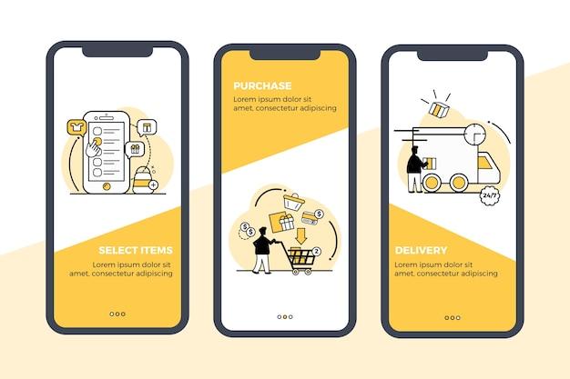 オンラインオンボーディングアプリの画面セットを購入する 無料ベクター