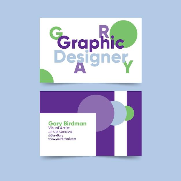 Графический дизайнер смешной шаблон визитной карточки Бесплатные векторы