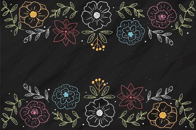 Рисованной цветы на фоне доски Бесплатные векторы