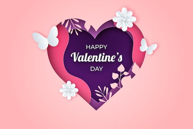 紙のスタイルで素敵なバレンタインデーの背景 無料ベクター