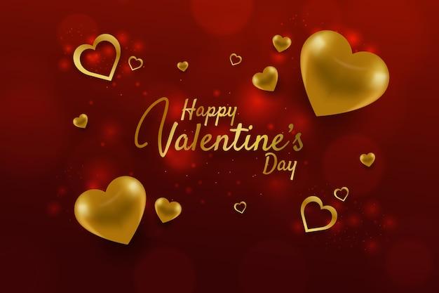 金色の要素を持つ素敵なバレンタインデーの背景 無料ベクター