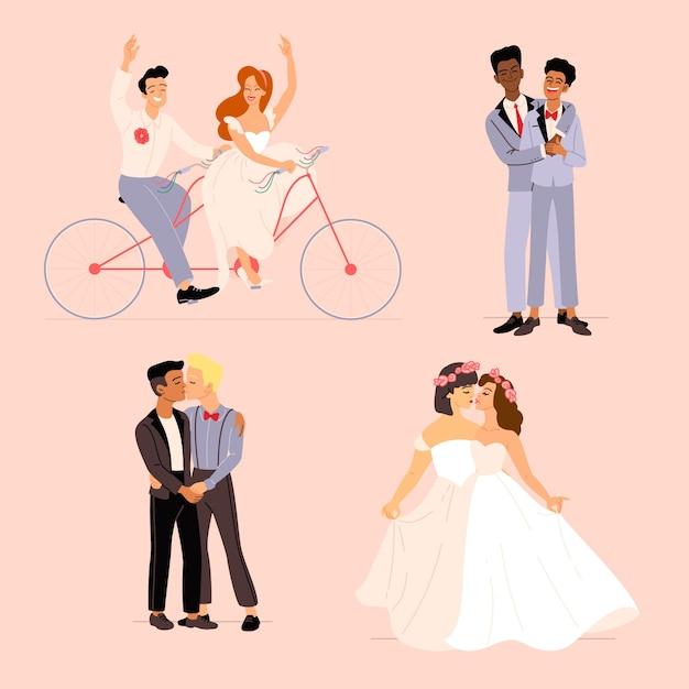 Пакет плоских свадебных пар Бесплатные векторы