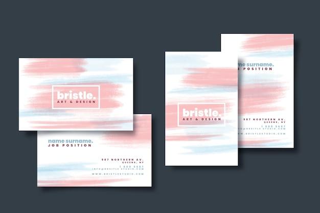 Красочный шаблон визитной карточки с пятнами пастельных тонов Бесплатные векторы