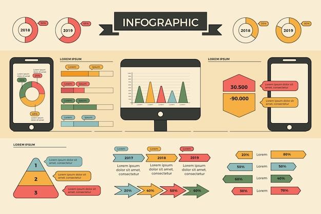 Плоский дизайн инфографики с ретро-цвета Бесплатные векторы