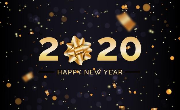 ゴールデンギフト弓と新年の背景 無料ベクター