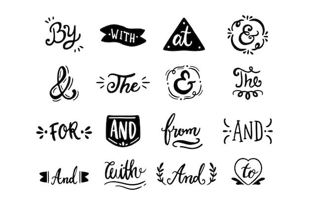 Различные лозунги и набор амперсандов Бесплатные векторы