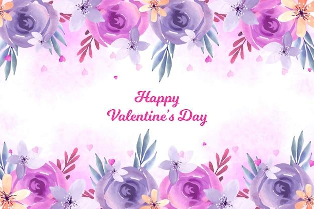 水彩花のバレンタインデーの背景 無料ベクター