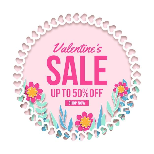 Плоский день святого валентина с продажей Бесплатные векторы