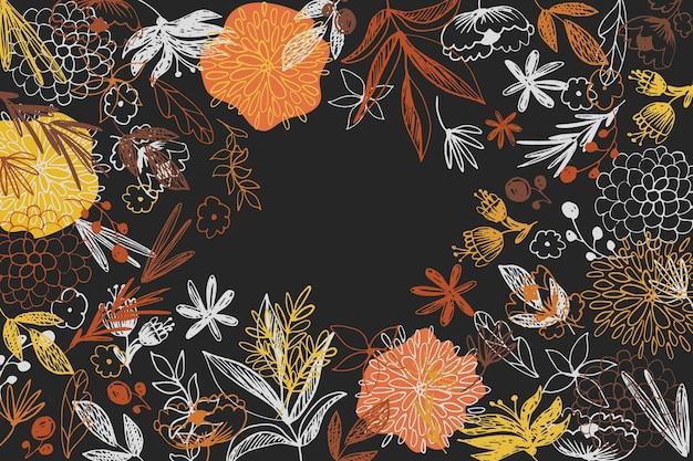 黒板の壁紙に描かれたカラフルな花 無料ベクター