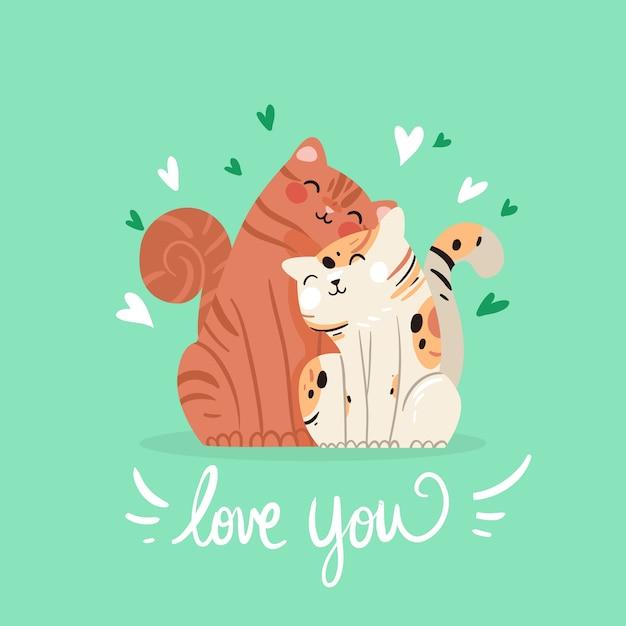 手描きのバレンタインの猫のカップル 無料ベクター