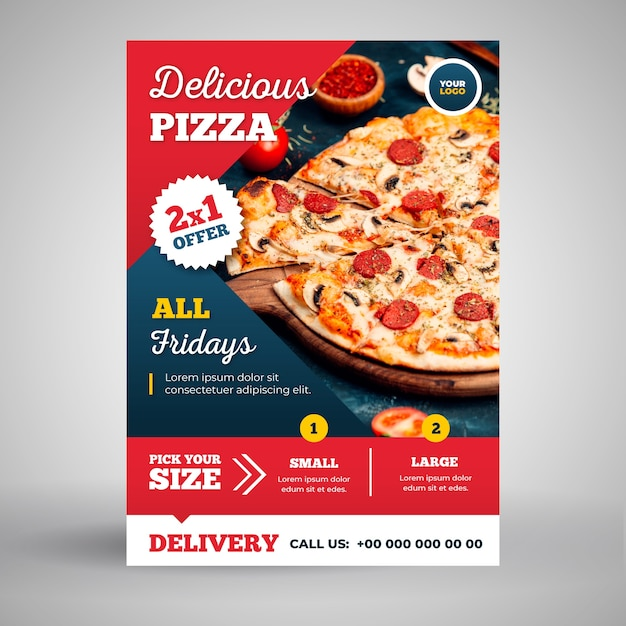 Вкусная пицца флаер шаблон Бесплатные векторы