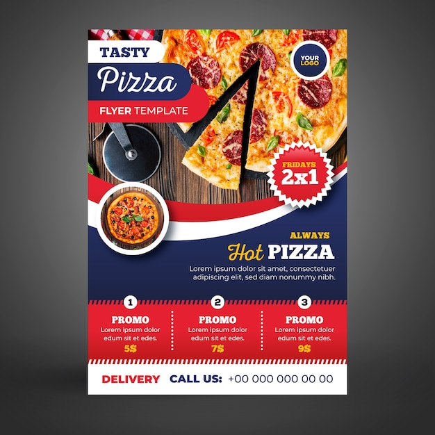 Шаблон флаера для доставки пиццы с рисунком Бесплатные векторы