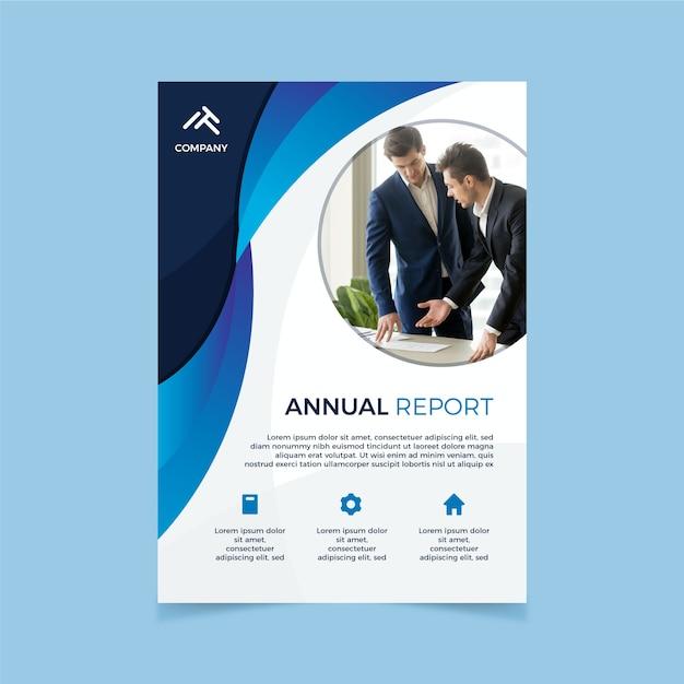 Шаблон корпоративного годового отчета с фотографией Бесплатные векторы