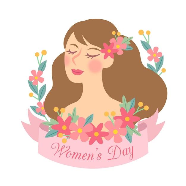 手描きの花の女性の日 無料ベクター